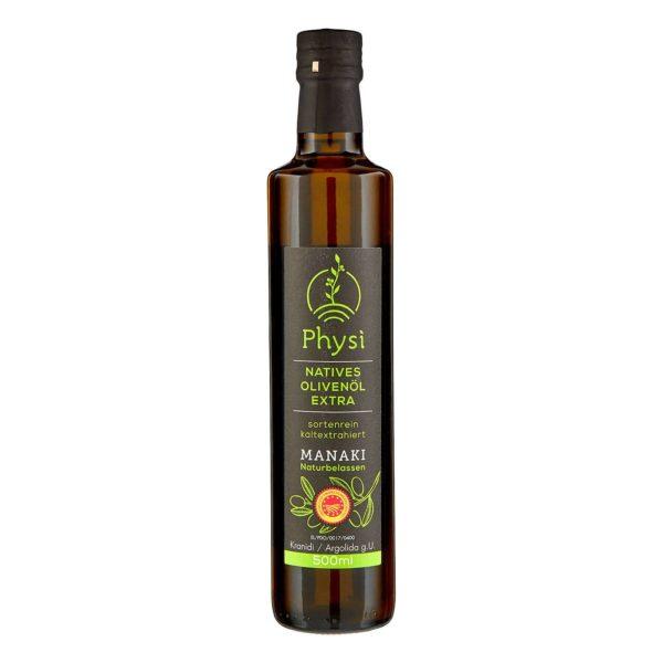 Olivenöl Manaki in der Flasche