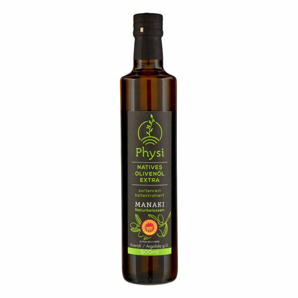 Olivenöl Manaki in der Flasche Physi