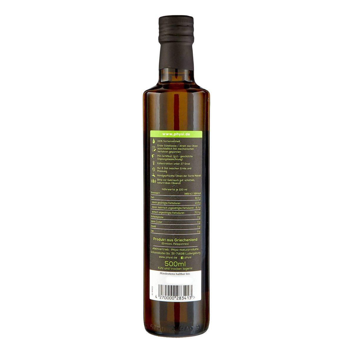 Olivenöl Manaki von physi Flasche