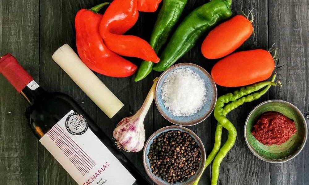 Zutaten für ein Paprika Wurst Eintopf