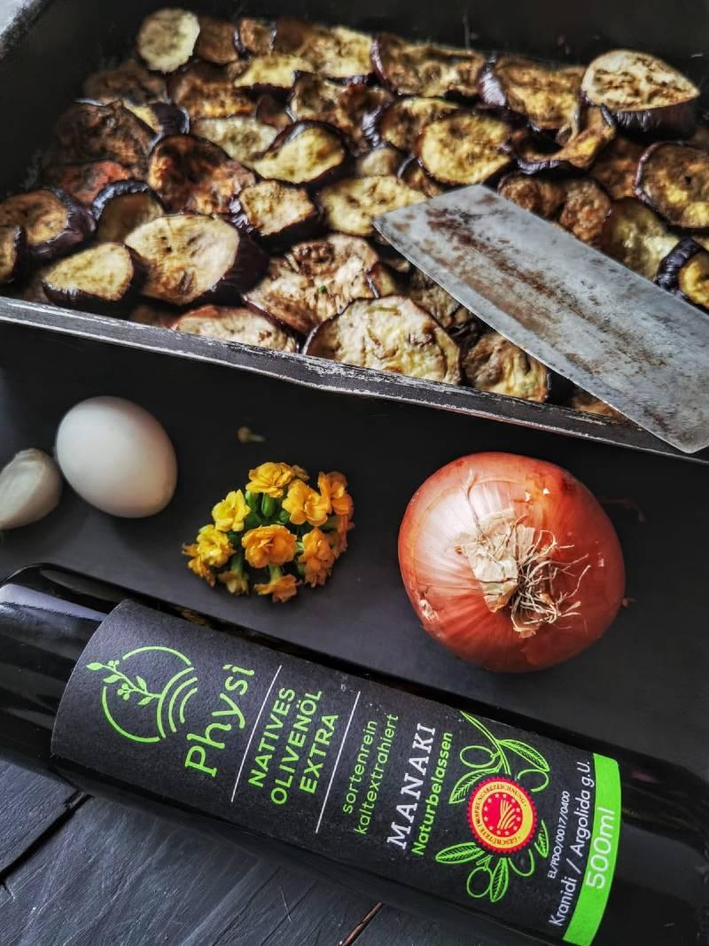 Griechische Rezepte Moussaka mit Olivenöl